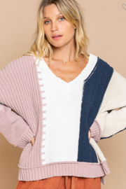 POL  Polly Color Block Sweater - Front cropped