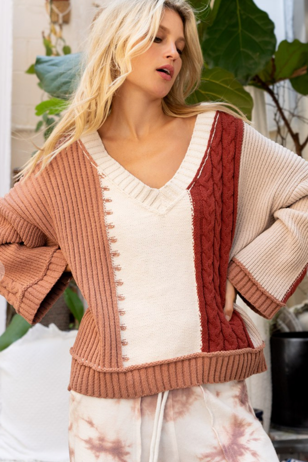 POL  Polly Color Block Sweater - Front Cropped Image