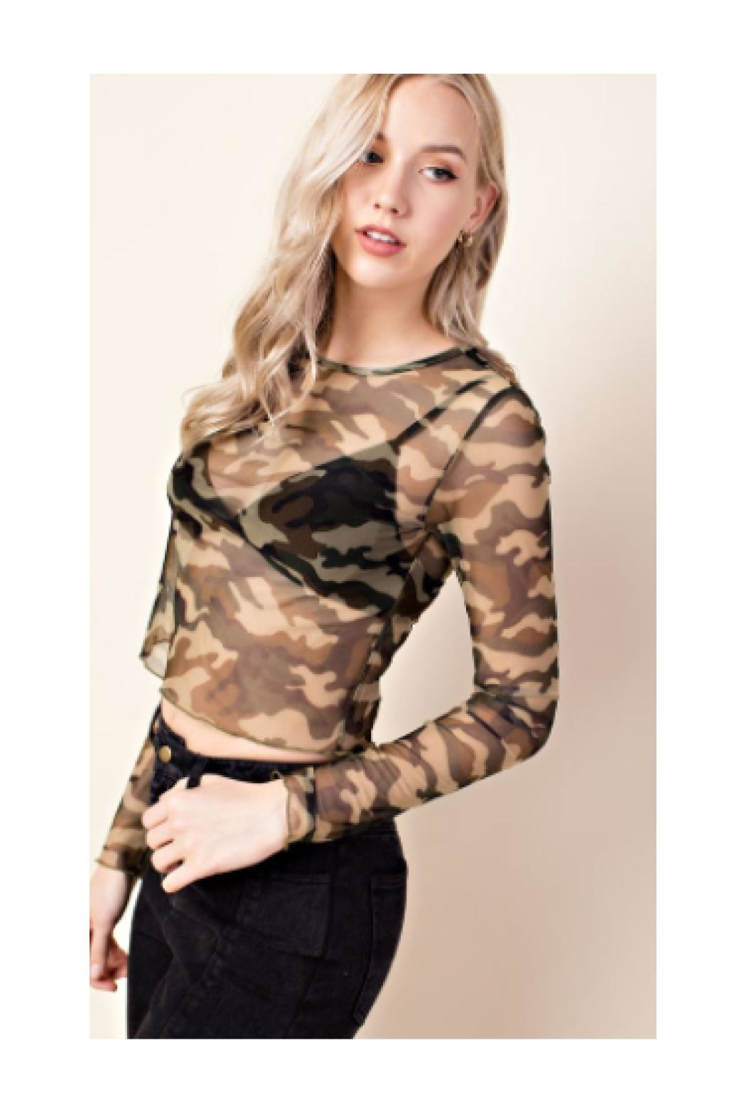 Polly & Esther Camo Mesh Top - Front Full Image