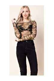 Polly & Esther Camo Mesh Top - Front cropped