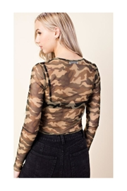 Polly & Esther Camo Mesh Top - Side cropped