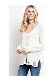Polly & Esther Cream Distressed Top - Product Mini Image