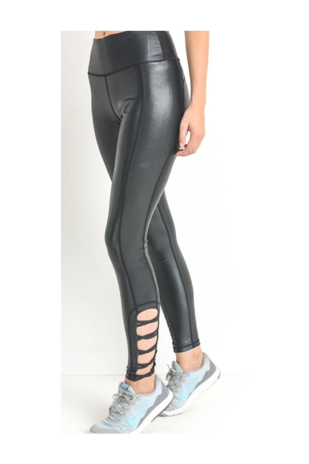 Polly & Esther Criss Cross Leggings - Front Cropped Image