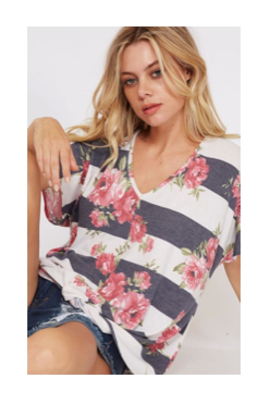 Polly & Esther Floral Stripe Shirt - Front Full Image