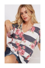 Polly & Esther Floral Stripe Shirt - Front full body
