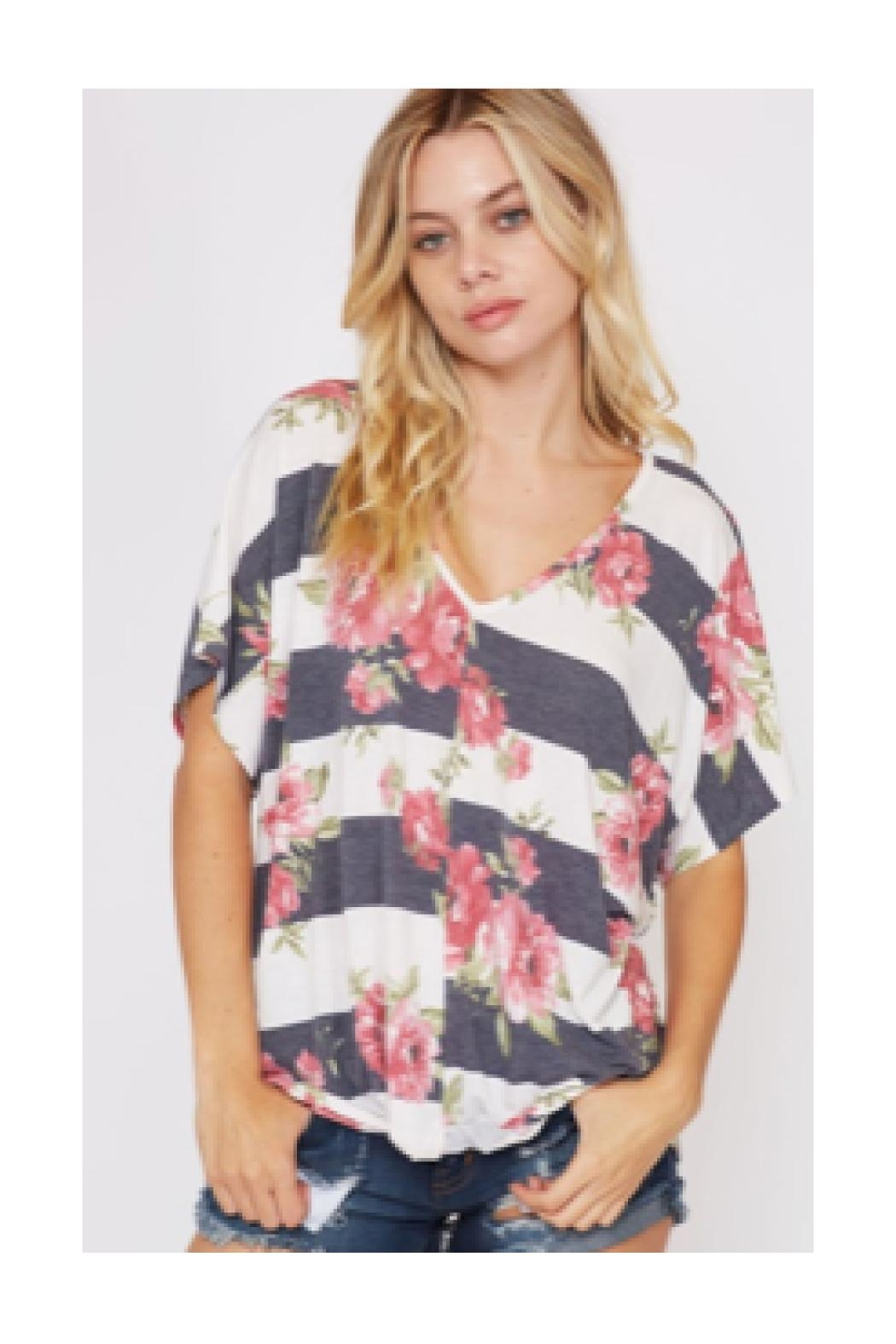 Polly & Esther Floral Stripe Shirt - Main Image
