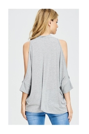 Polly & Esther Grey Cold-Shoulder Top - Front full body