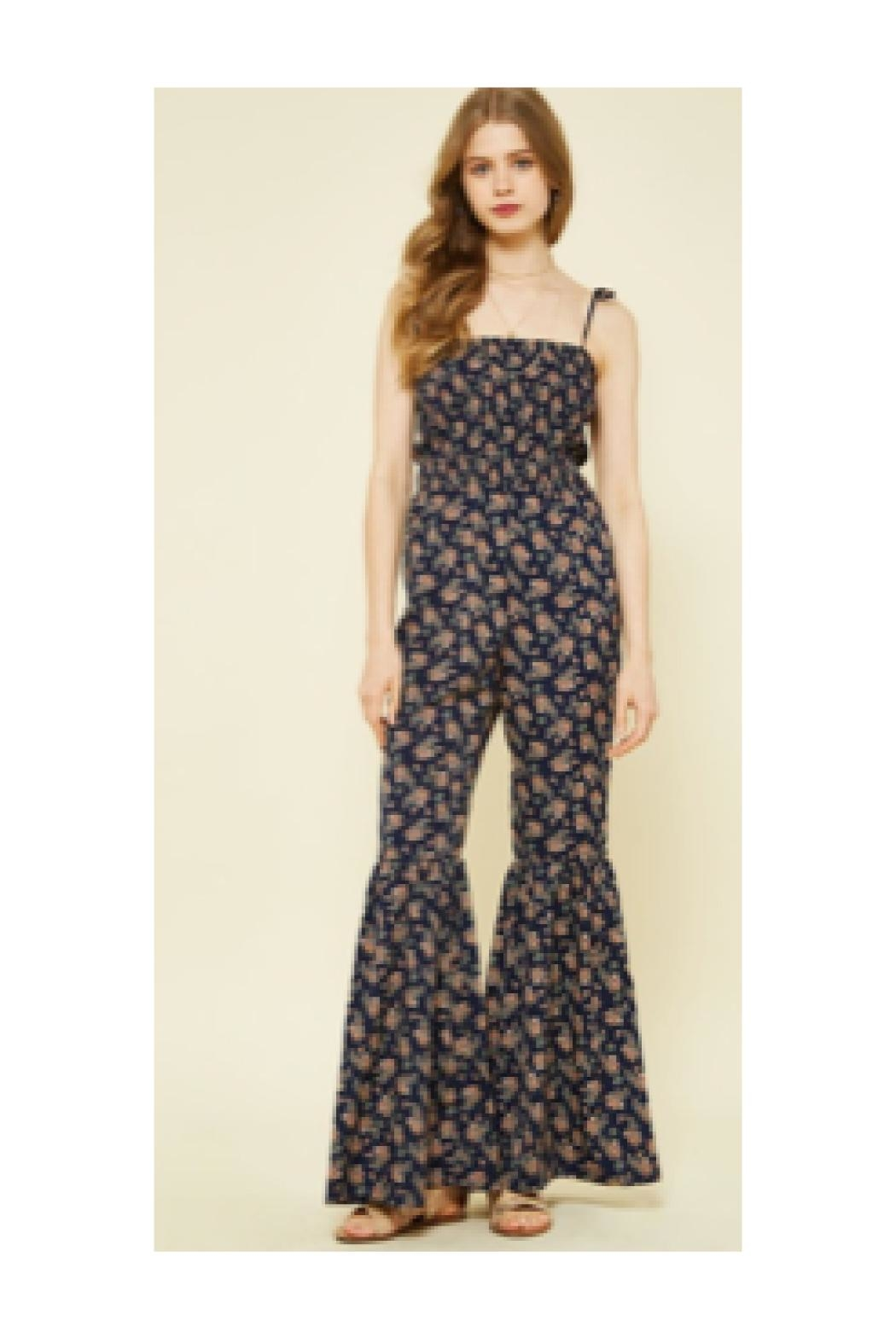 Polly & Esther Navy Floral Jumpsuit - Main Image