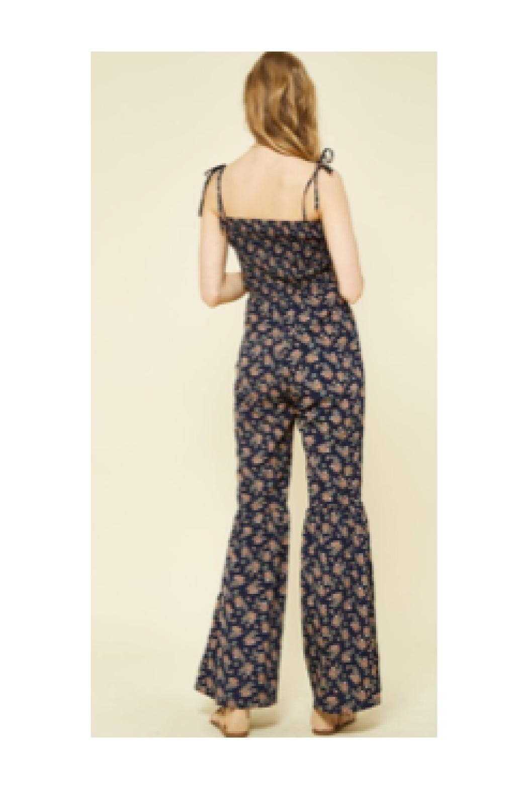 Polly & Esther Navy Floral Jumpsuit - Side Cropped Image