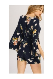 Polly & Esther Navy Floral Romper - Front full body