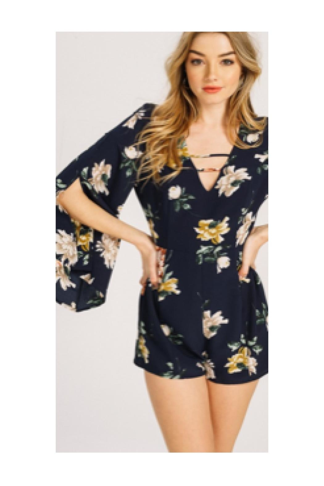 Polly & Esther Navy Floral Romper - Main Image