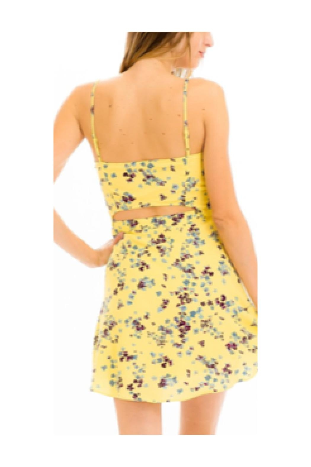 Polly & Esther Yellow Floral Dress - Front Full Image