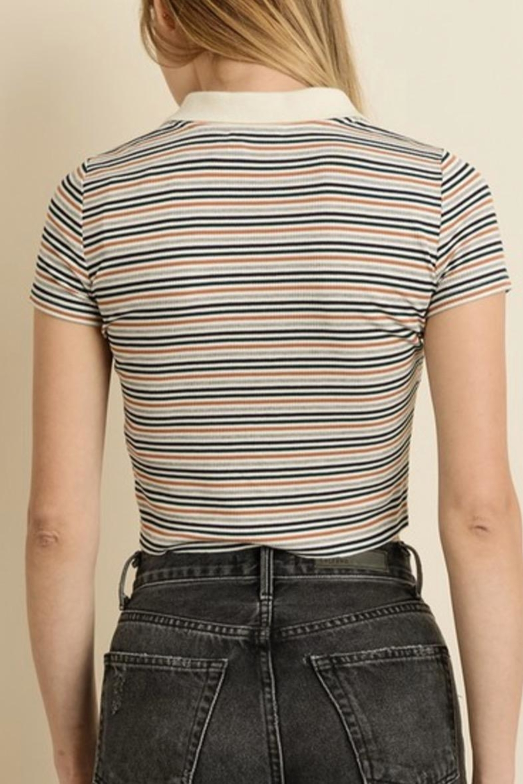 dress forum Polo Stripe Top - Front Full Image