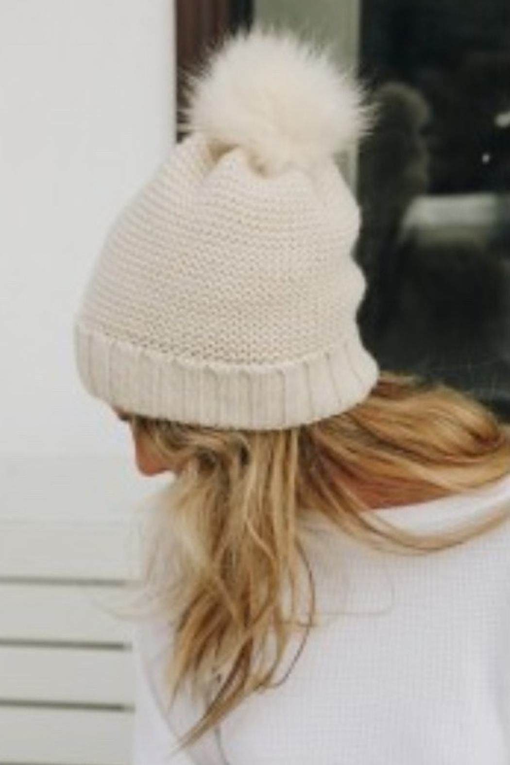 Leto pom beanie with faux sherpa lining - Front Cropped Image