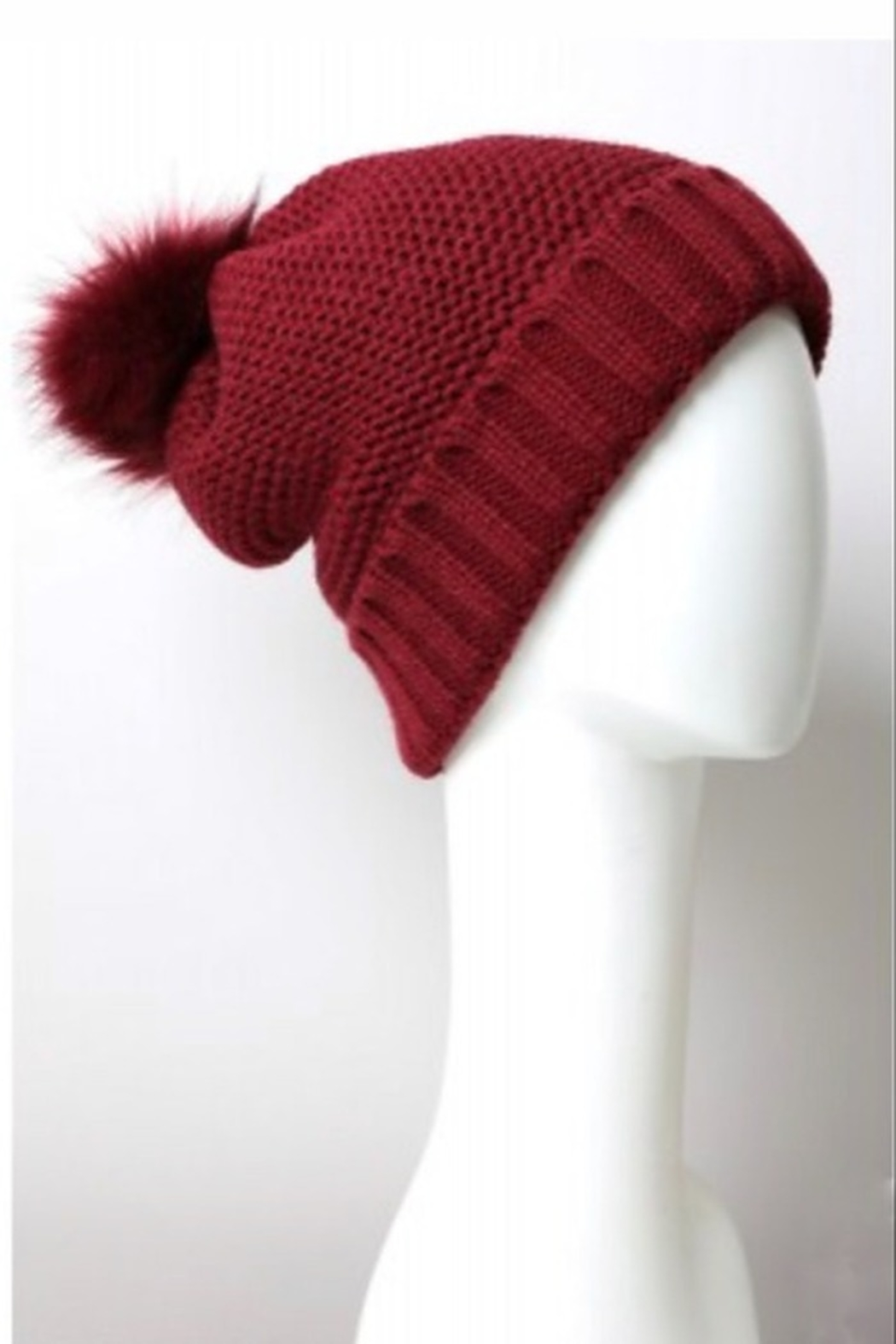 Leto pom beanie with faux sherpa lining - Front Full Image
