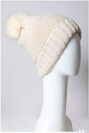 Leto pom beanie with faux sherpa lining - Front full body
