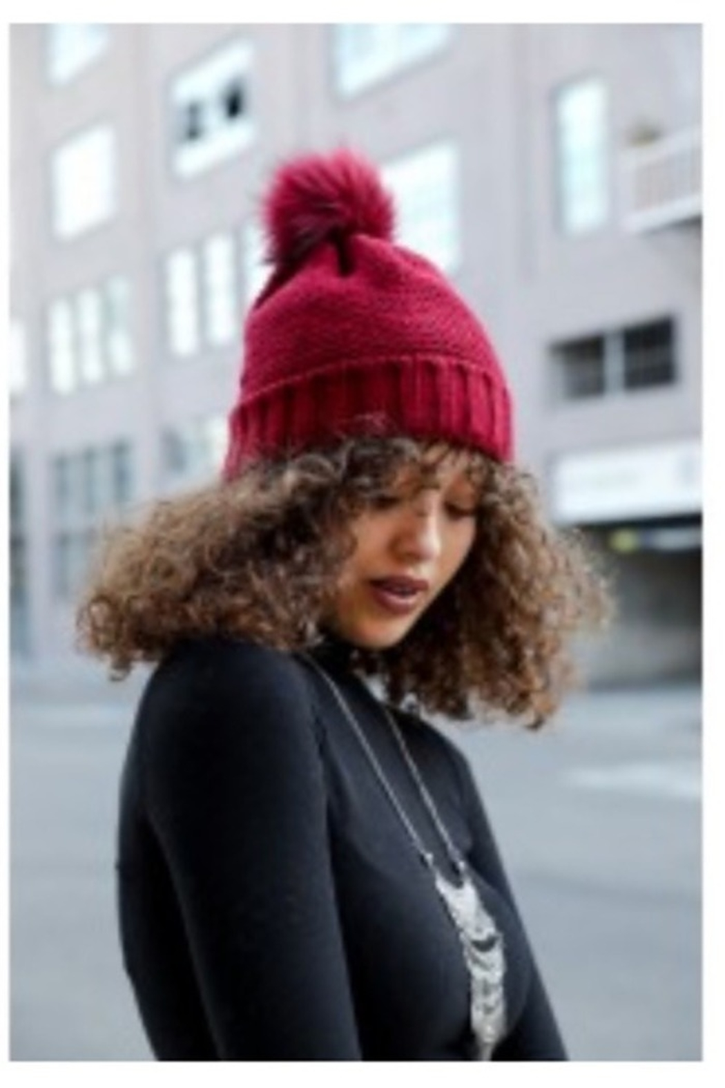 Leto pom beanie with faux sherpa lining - Main Image