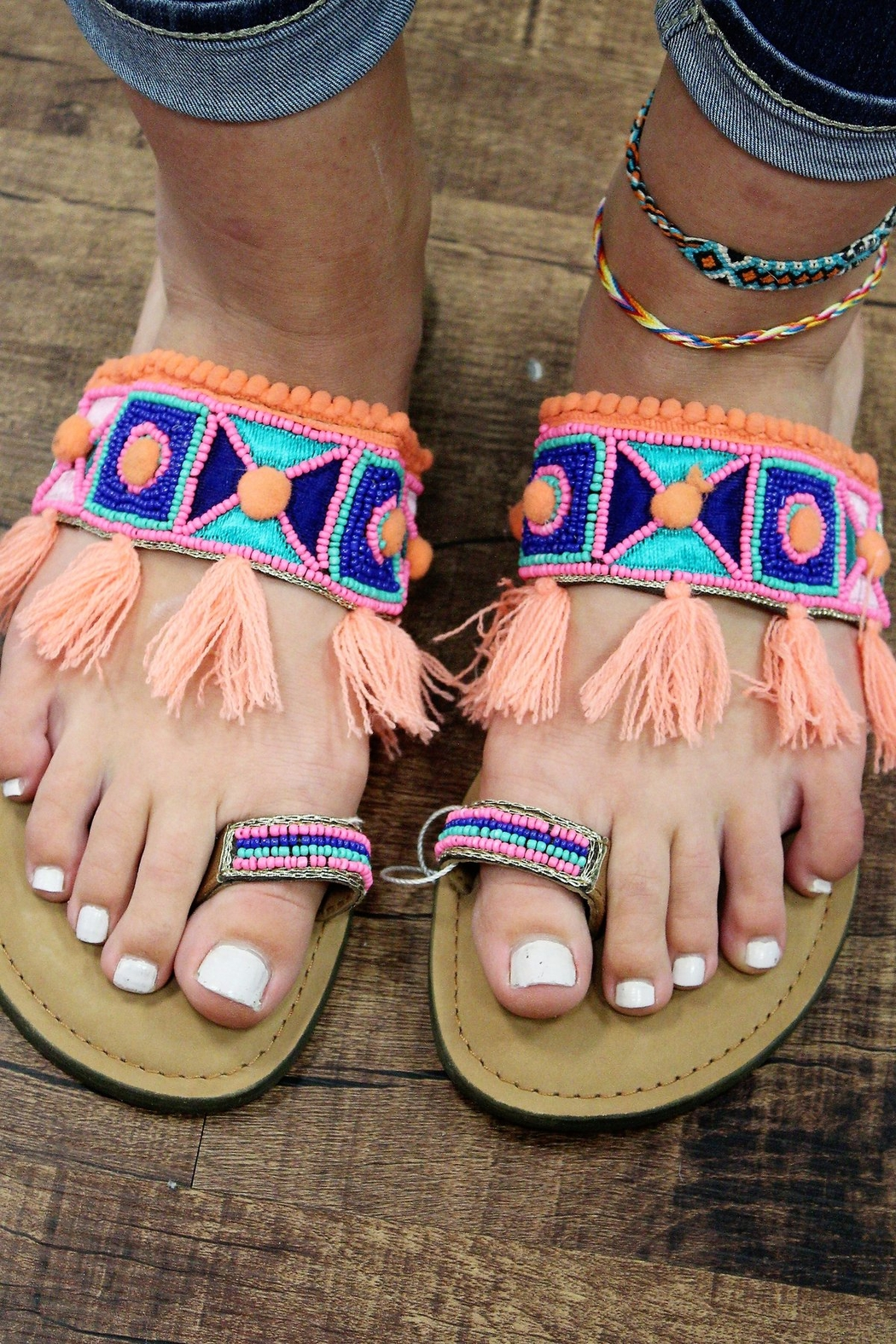 America and Beyond Pom Pom and Tassel Beaded Leather Sandals - Main Image