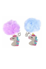 Top Trenz Pom Pom CZ Bling Keychains -UNICORN - Product Mini Image