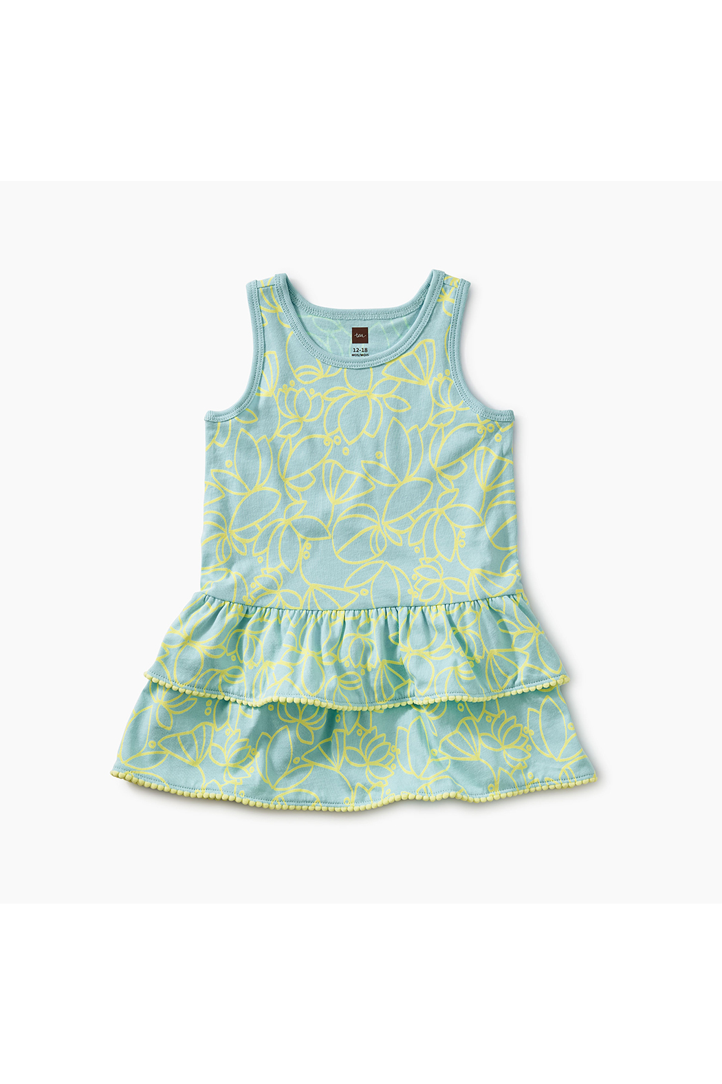 Tea Collection Pom Pom Ruffle Tank Baby Dress - Front Cropped Image