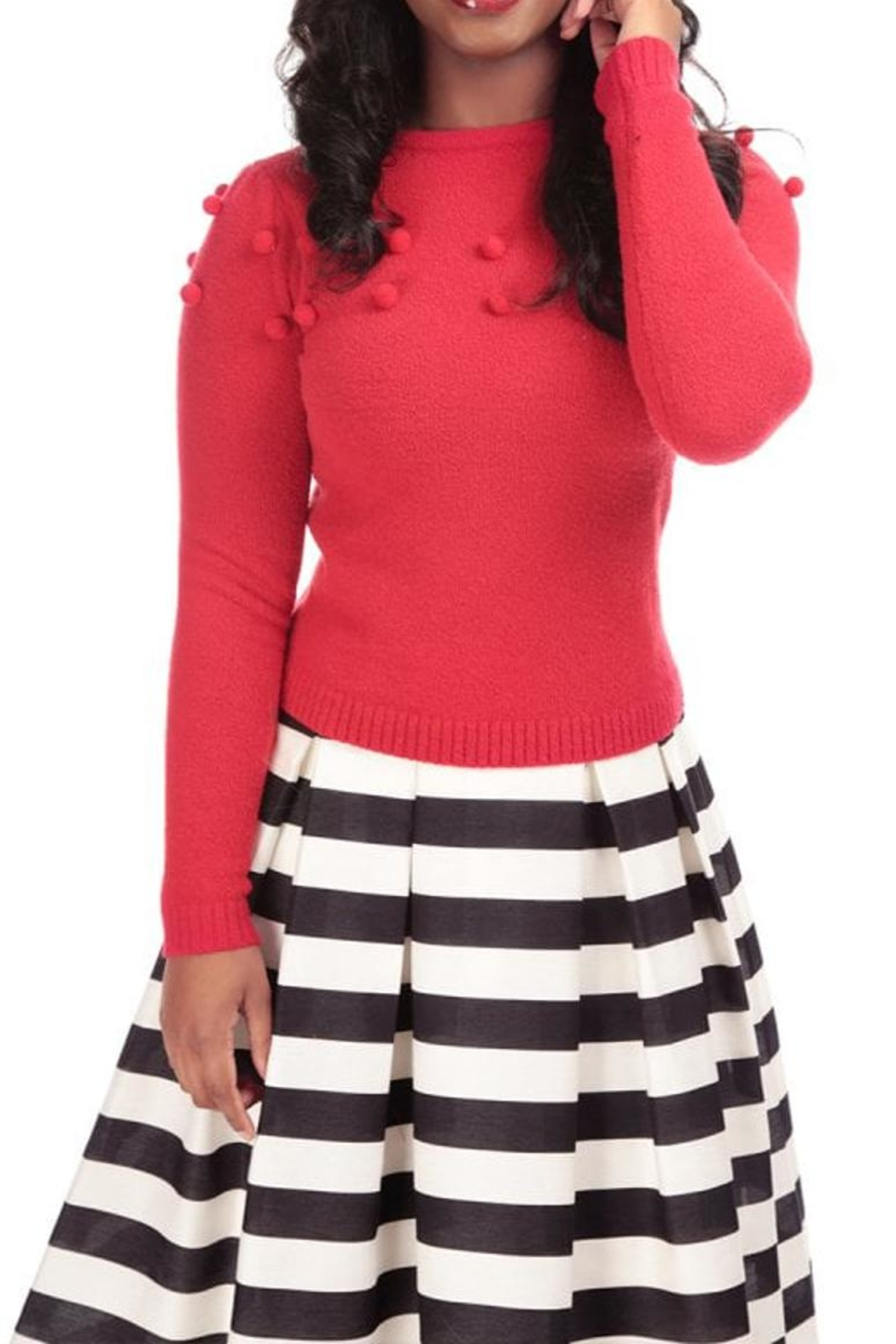 Collectif Pom Pom Sweater - Front Cropped Image