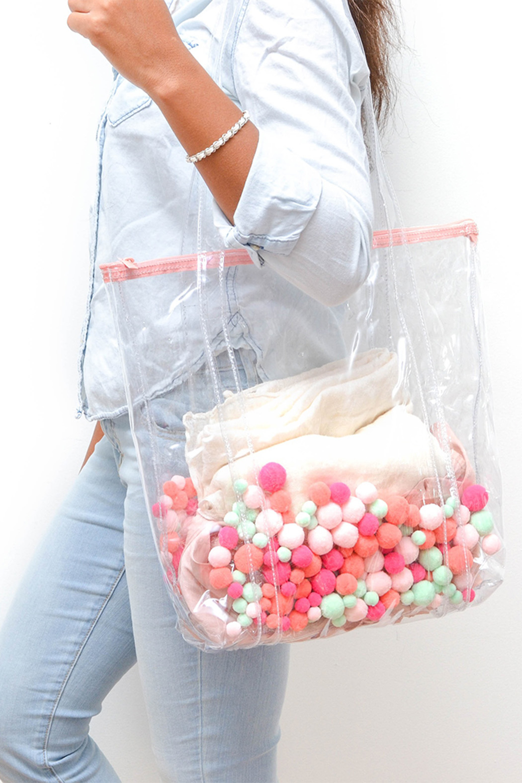 Talking Out Of Turn Pom Pom Twinkles Tote - Front Full Image