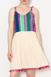 America & Beyond Pom Strap Embo Dress - Product Mini Image