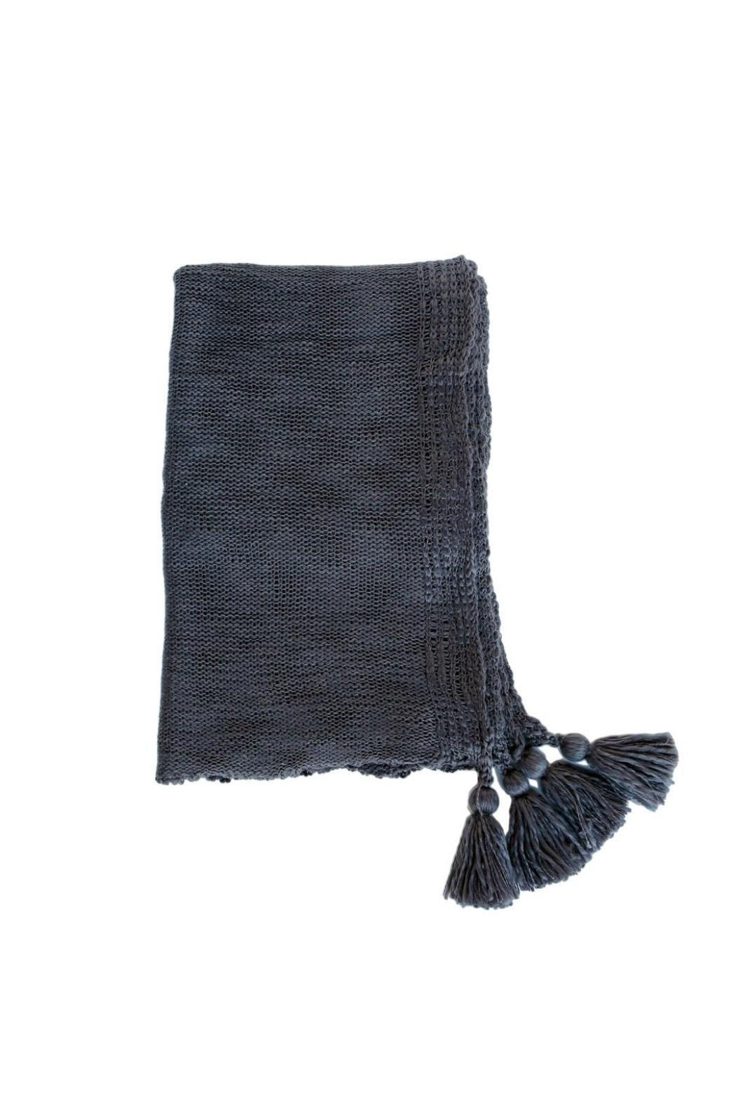 Pom Pom at Home Knit Tassel Throw - Front Cropped Image