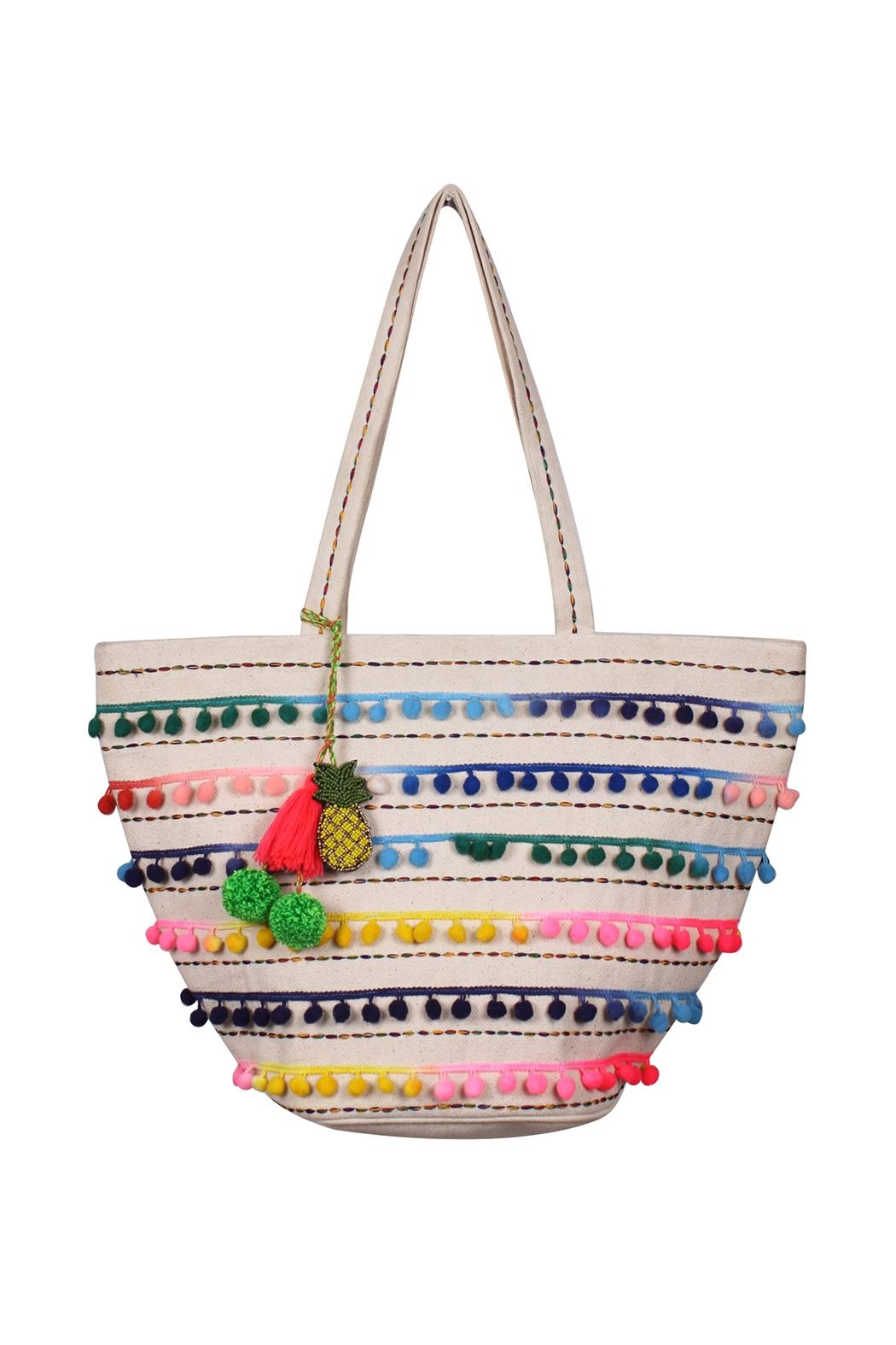 America & Beyond Pompom Beach Bag - Front Cropped Image
