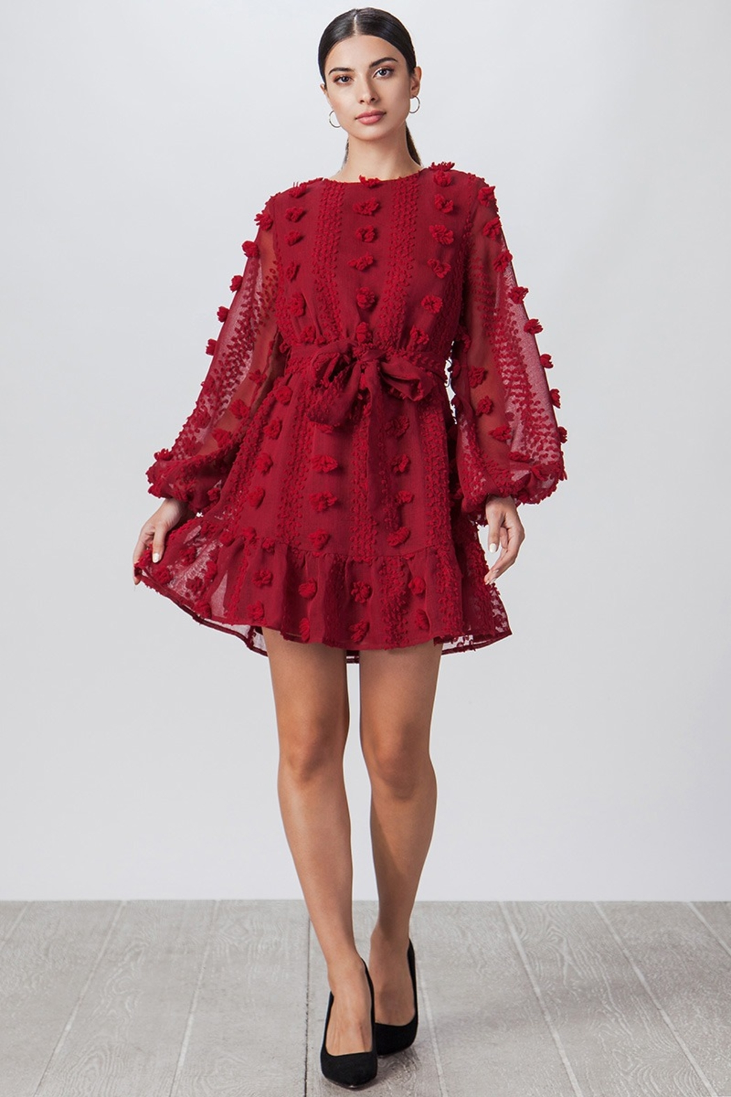 Flying Tomato PomPom Fabric Minidress - Main Image