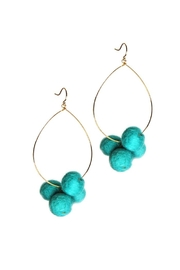 Yochi Pompom Teardrop Earrings - Product Mini Image