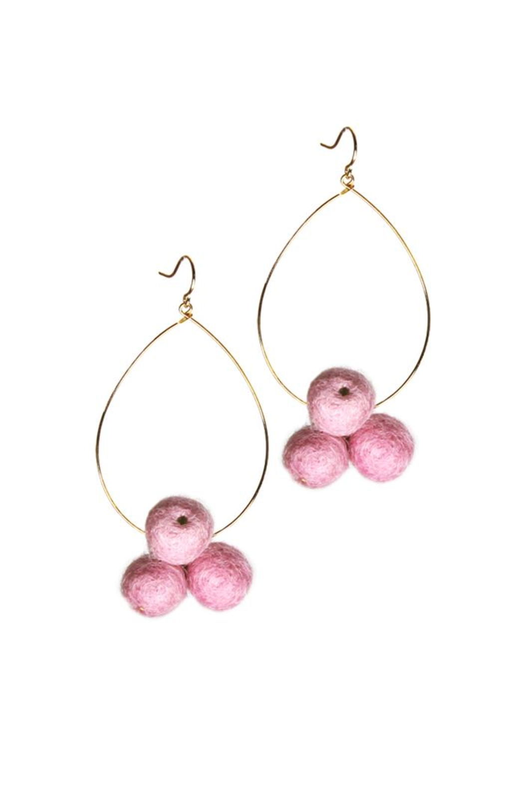 Yochi Pompom Teardrop Earrings - Main Image