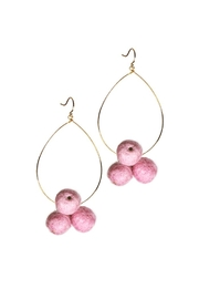 Yochi Pompom Teardrop Earrings - Front cropped