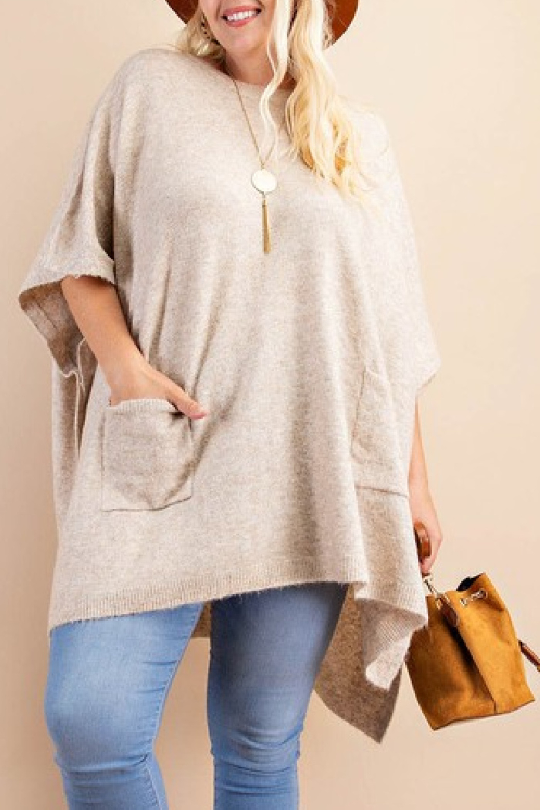 Kori Poncho Sweater Curvy - Front Cropped Image