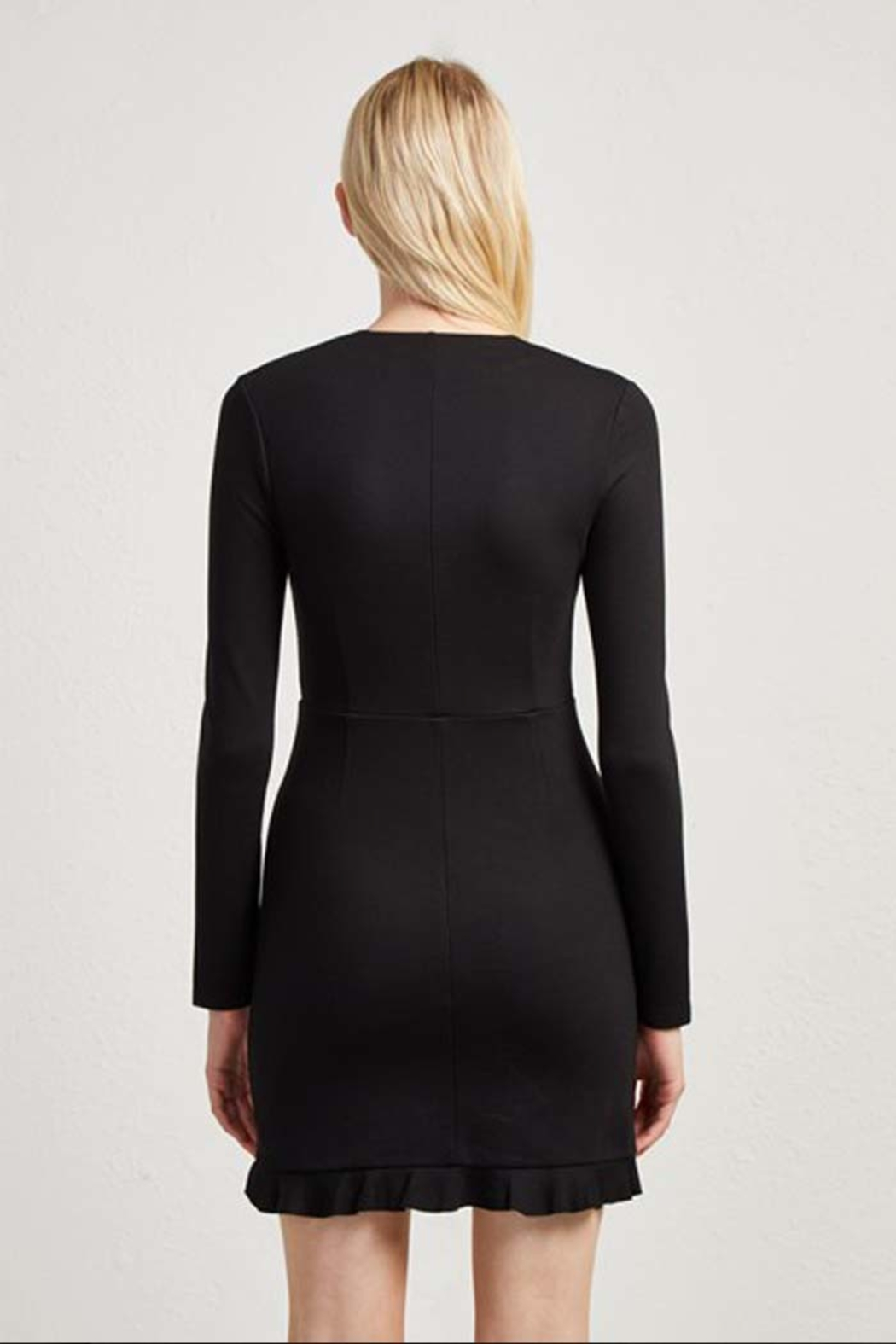 French Connection PONTE JERSEY LONG SLEEVE BLACK DRESS - Side Cropped Image