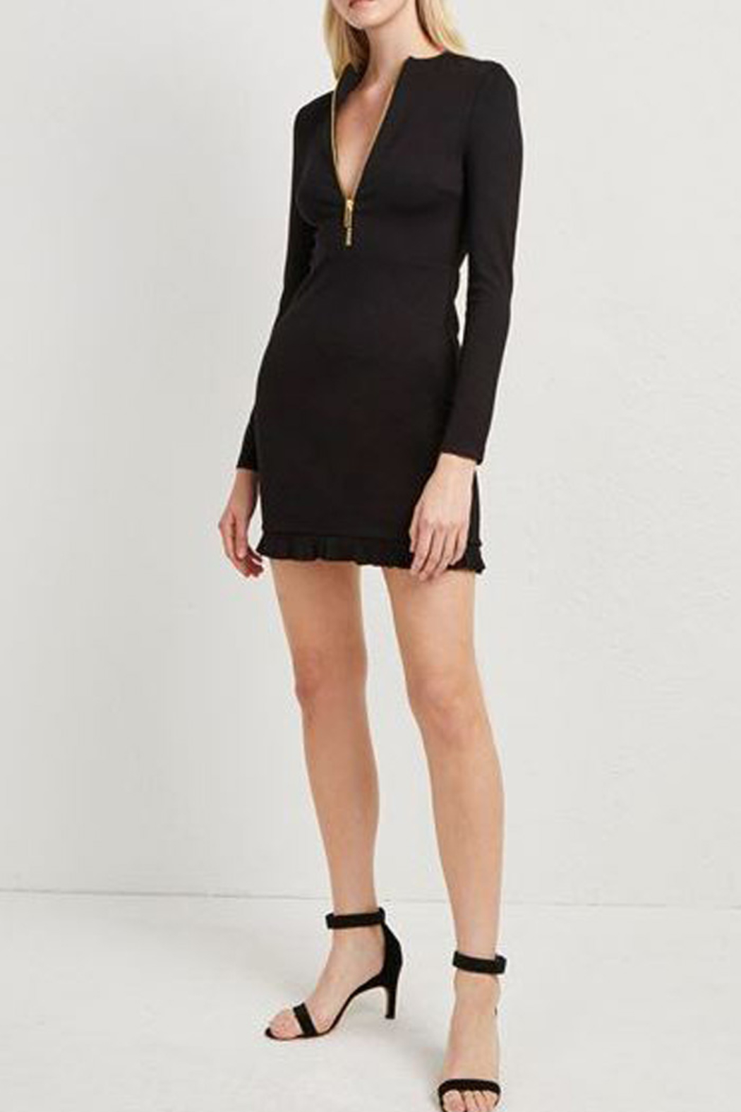 French Connection PONTE JERSEY LONG SLEEVE BLACK DRESS - Front Full Image