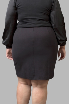 Love By Yona Ponte Pencil Skirt-Black - Alternate List Image
