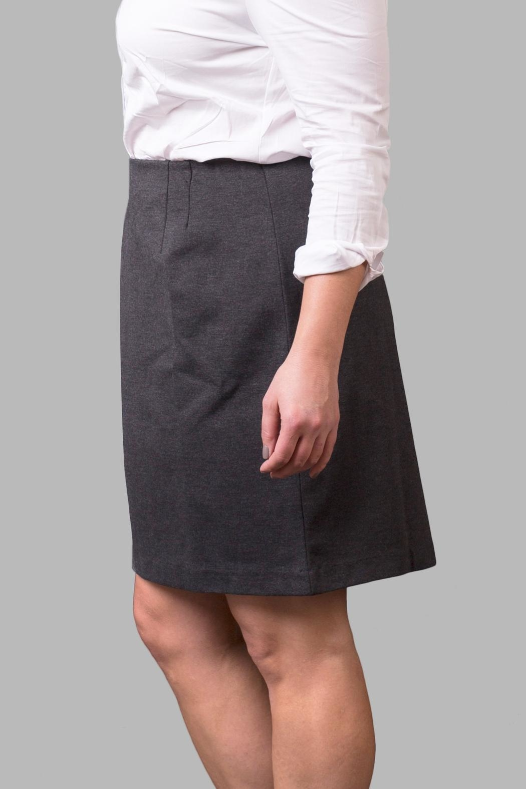 Love By Yona Ponte Pencil Skirt-Grey - Front Full Image