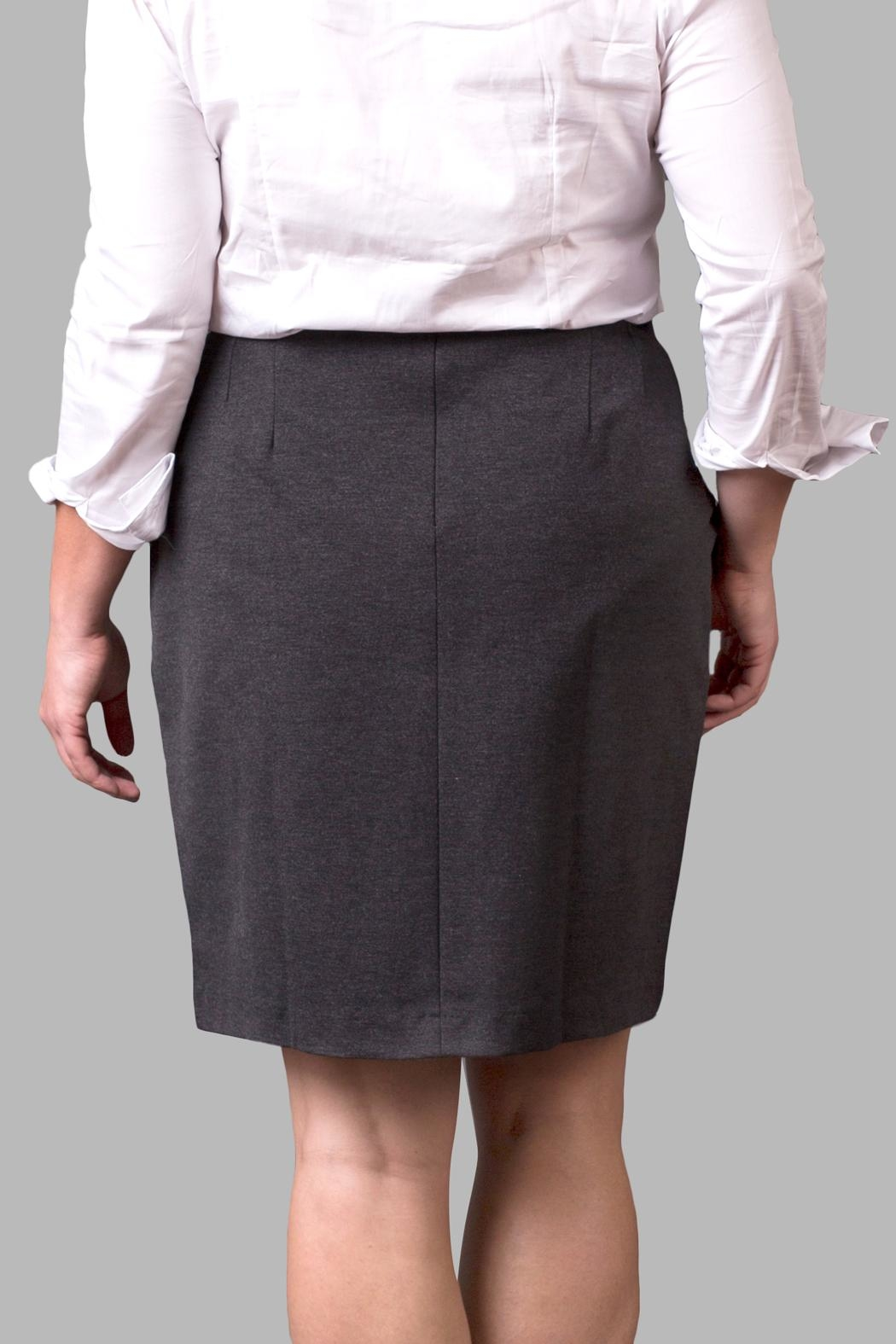 Love By Yona Ponte Pencil Skirt-Grey - Side Cropped Image