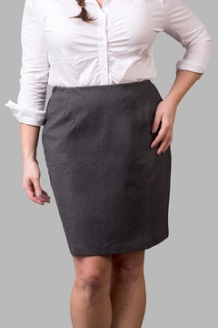 Love By Yona Ponte Pencil Skirt-Grey - Product List Image