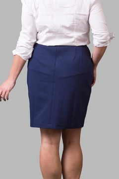 Love By Yona Ponte Pencil Skirt-Navy - Alternate List Image
