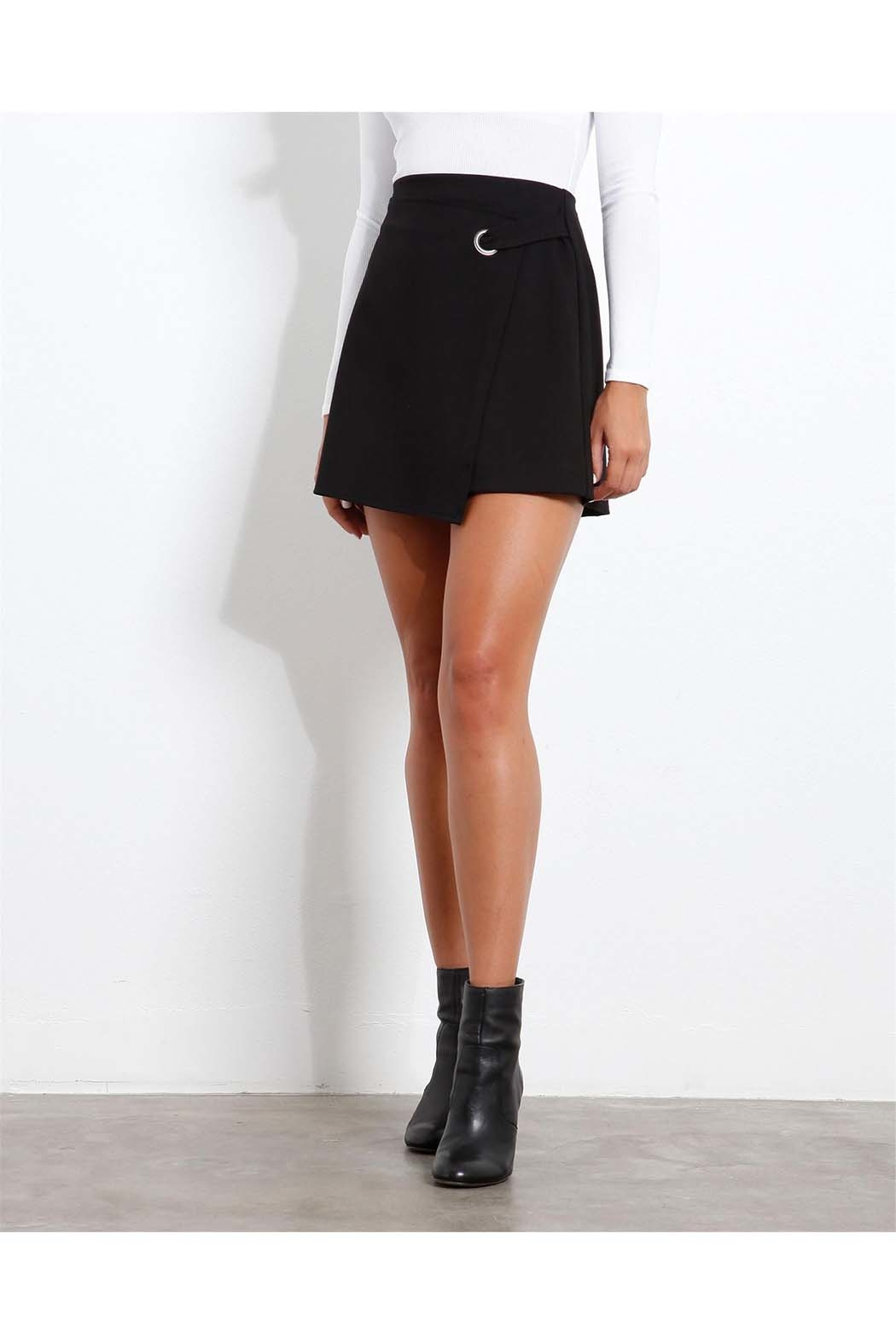 Three Dots Ponte Wrap Skirt - Front Cropped Image