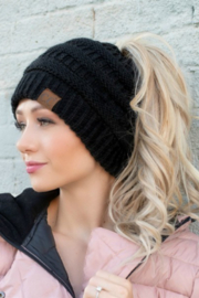 C.C Beanie Ponytail Beanie - Front cropped