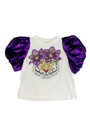 Queen Of Sparkles Poof Sleeve Floral Tiger Tee - Product Mini Image
