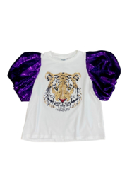 Queen Of Sparkles Poof Sleeve Tiger Tee - Product Mini Image
