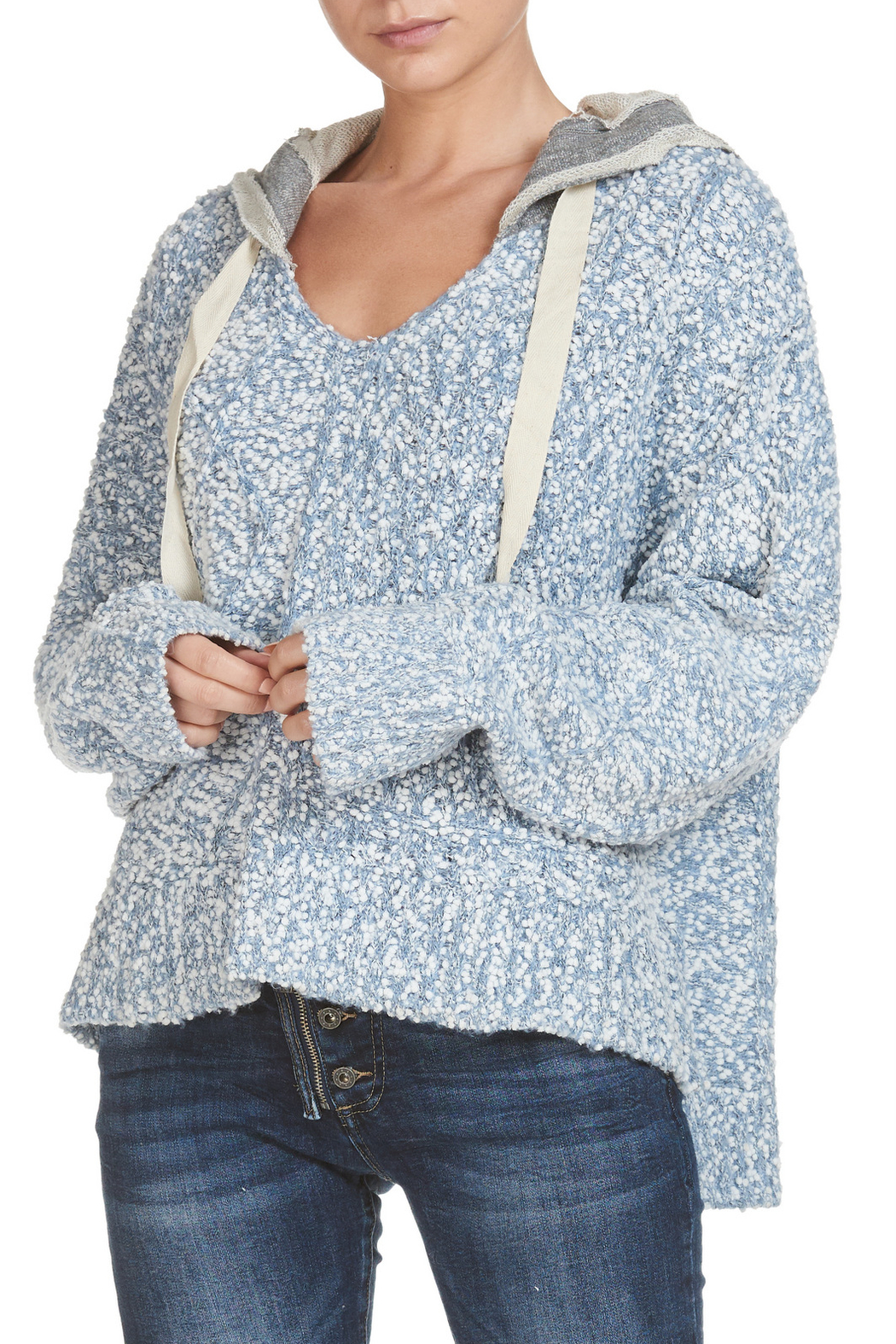 Elan Sweater deep round neck with  hood - Front Cropped Image