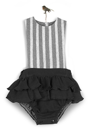 Popelin Black Pure Cotton Romper Suit With Frill for Girls - Product Mini Image
