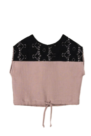 Popelin Cotton Top with Contrasting Embroidered Yoke For Infant Toddler Girls - Front cropped