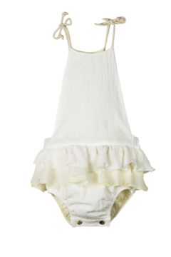 Shoptiques Product: Popelin Little Girl's Organic Romper With Frilled Sleeves - Embroidered Bib