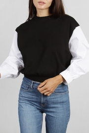 Mod Ref Poplin-Sleeve Knit Top - Product Mini Image